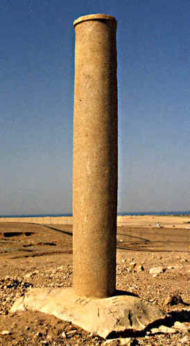Discovered by Ronn Wyatt in 1978. A pair of pillars on the Egyptian side (Nuweiba) and the Saudi side of the the Gulf of Aqaba - The Red Sea. The one on the Egyptian side had fallen over and was in the sea. It's inscriptions had worn off. The one on the Saudi side was inscribed with the words: Yahweh, Pharaoh, Mizraim, Moses, Death, Water, Solomon, Edom. The Saudi pillar has been removed by the Saudi's but the one on the Nuweiba side is still standing and can be visited. Wyatt also found 4, 6 and 8 spoked chariot wheels covered with coral strewn across the bottom of the Red Sea at this point.